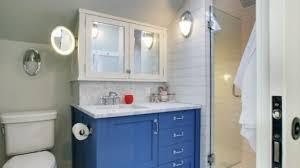 Bathroom Vanity Medicine Cabinet Navy Bathroom Vanity With Industrial Rivet Medicine Cabinet In