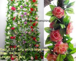 wholesale roses 2017 artificial silk flower garlands leaves each 6 5ft