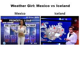 Iceland Meme - weather girl mexico vs iceland imgur