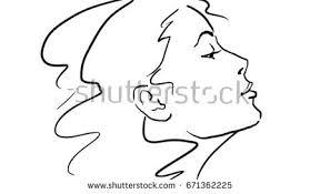 vector sketch womans profile beautiful blonde stock vector