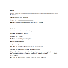 wedding itinerary for guests sle wedding weekend itinerary template 12 documents in pdf