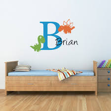 initial u0026 name wall decal with cute dinosaurs boy bedroom wall