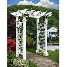White Vinyl Pergola Kits by New England Arbors Fairfield Grande 7 25 Ft Vinyl Pergola Arbor