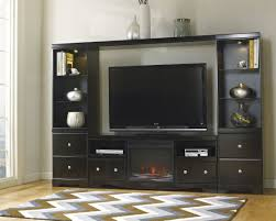 large black entertainment center with fireplace console cabinet