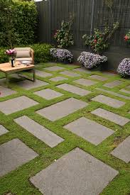 bluestone slabs and groundcover gives a effect in this cosy