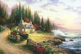 aliexpress buy kinkade pine cove cottage painting