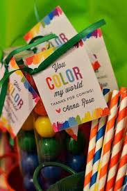 gumball party favors and painting party favor ideas