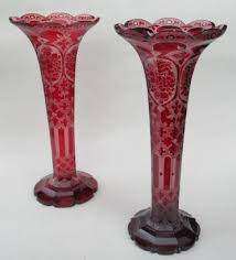 Ruby Vases 525 Superb Pair Bohemian Hand Engraved Ruby Glass Vases Mid