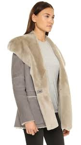 vince hooded shearling coat in gray lyst