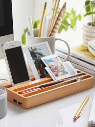 Electronic Charging Station Desk Organizer Wooden Charging Station With Two Usb Ports And Integrated Desk