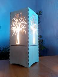 wooden lamp night light laser cut lantern led light bulb
