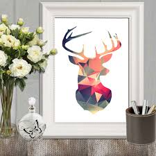 deer decor for home deer printable retro wall art print triangle art