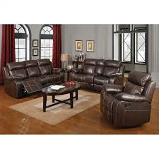 Brown Leather Recliner Sofa Set Linebacker Leather Reclining Sofa In Espresso Walmart