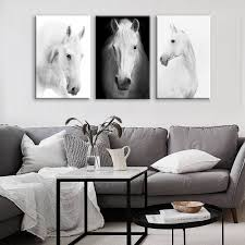 living room prints white horse wall art canvas prints modern art home decor for living