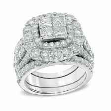 rings wedding set images 5 ct t w quad princess cut diamond double frame bridal set in jpg