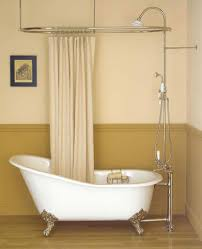 clawfoot tub bathroom design beige shower curtain with wooden floor for small bathroom ideas
