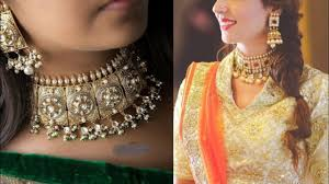 indian chokers necklace images Latest kundan choker necklace set design ideas for indian wedding jpg