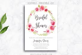 printable bridal shower invitations printable bridal shower invitation wreath amistyle digital