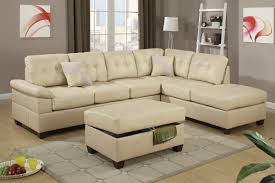 Sofa With Ottoman Chaise by 2 Piece Khaki Sectional Sofa With Chaise Ottoman By Poundex