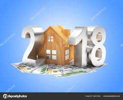 new year dollar bill silver 2018 new year and wooden house on dollar bills on blue