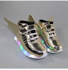 gold light up sneakers gold plush lined light up wing shoes 52 00 bottomsup4kids com