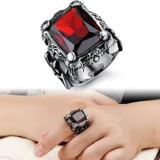 steel finger rings images Tengyi punk real stainless steel ring men 39 s 13kt big red stones jpg