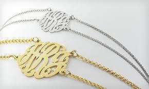 sterling silver monogram bracelet monogram bracelets groupon goods