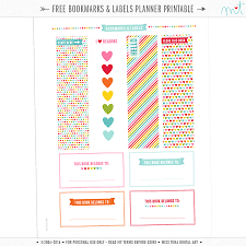 free bookmarks labels planner printable