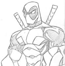 how to draw easy deadpool drawings sketch coloring page