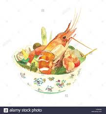 cuisine reference sour prawn soup food cuisine watercolor
