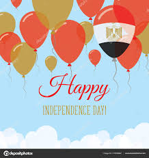 Egyption Flag Egypt Independence Day Flat Greeting Card Flying Rubber Balloons