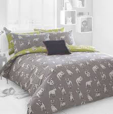 Grey Double Duvet Set French Bulldog Double Printed Bedding Set French Bulldog Home