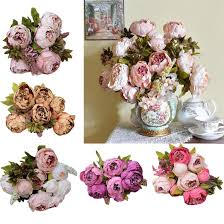 new beautiful 1bouquet 8 heads artificial peony silk flower leaf
