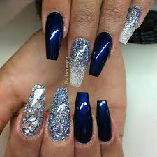 best beautiful blue coffin glitters nail ideas creative nail art