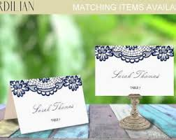 folded table place cards navy place cards etsy