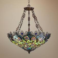 tiffany style dining room lights peacock feather 3 light tiffany art glass pendant style w3150