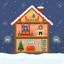 christmas house in cut with snow house interior with a furniture