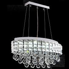 crystal dining room discount modern ttp k9 led crystal pendant lamp circle oval