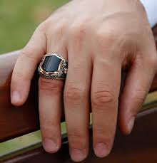 men u0027s sterling silver ottoman hexagon black onyx ring
