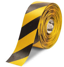 black and yellow ribbon 4 yellow with black chevrons 100 roll safety floor