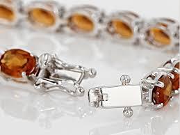 garnet sterling silver bracelet images Orange hessonite garnet sterling silver bracelet 22 00ctw jpg
