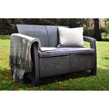 Rattan Settee Keter Corfu Outdoor Loveseat Brown Hayneedle