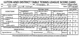 Table Tennis Doubles Rules Luton U0026 District Table Tennis League Sample Scorecard Luton