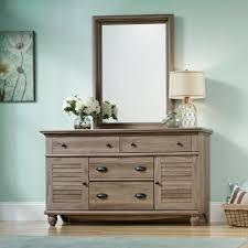 sauder bedroom furniture sauder 414942 harbor view salt oak dresser with mirror decor diy