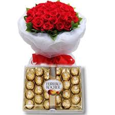 flowers and chocolate combo gifts flower w chocolate 12 roses with ferrero rocher