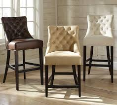 Brown Leather Bar Stool Various Colors Button Tufted Barstool