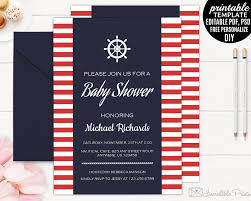nautical baby shower invitation template printable navy blue baby