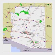 Map Of The United States With States by Map Of Arizona State With Roads National Parks And Cities