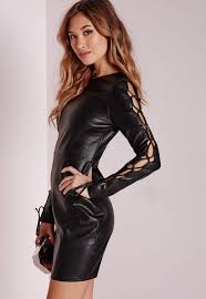 Leather And Lace Clothing Faux Leather Lace Up Sleeve Bodycon Dress Black Missguided
