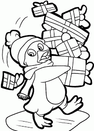 penguin christmas coloring pages coloring